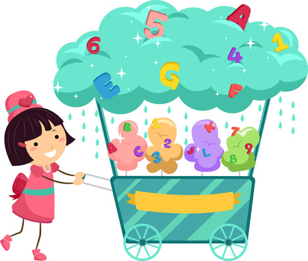 Stickman Illustration of a Little Girl Pushing a Cotton Candy Cart Stock Photo