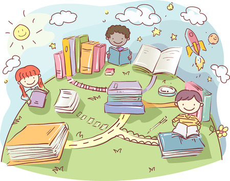 childrens book: Stickman Illustration of Kids Reading Books on the Top of the World