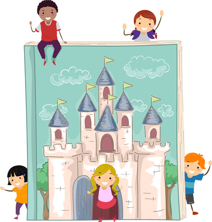 grade schooler: Stickman Illustration of Kids Gathered Around a Giant Storybook