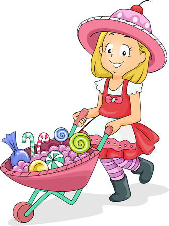 goodies: Illustration of a Little Girl Pushing a Wheelbarrow Full of Candies Stock Photo