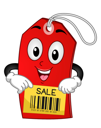 sale tag: Mascot Illustration of a Red Tag with the Word Sale Written on it
