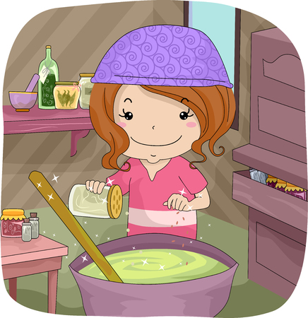 adding: Illustration of a Little Girl Adding Spices to the Potion She is Making