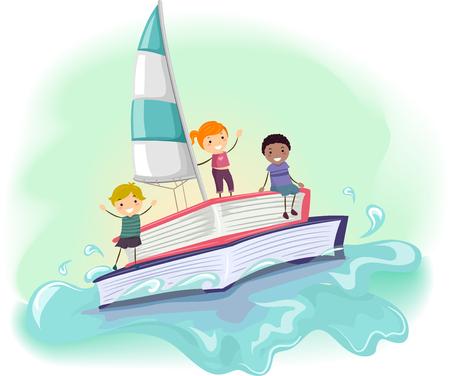 escuela infantil: Ilustración stickman de Niños montar un Hecho Barco de un libro