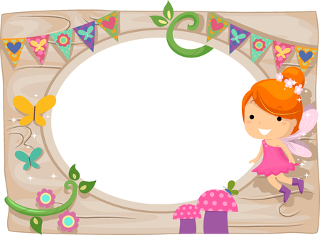garden frame: Whimsical Frame Illustration of a Little Fairy Hovering Over a Colorful Garden