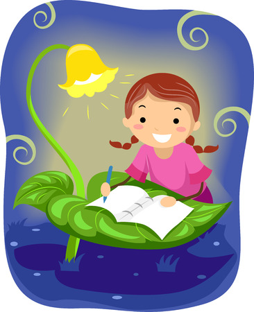 man illustration: Stickman Illustration of a Little Girl Writing a Book on a Table Made Out of a Leaf Stock Photo