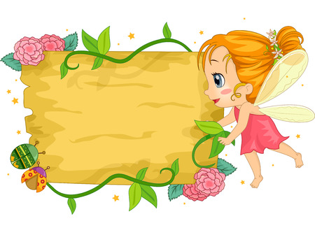 hovering: Colorful Illustration of a Little Girl Dressed as a Fairy Hovering Near a Wooden Board