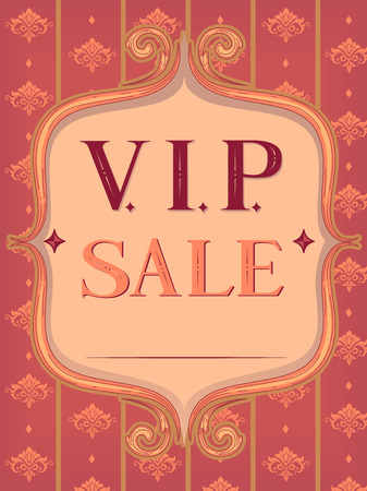 markdown: Vintage Text Illustration Featuring the Words VIP Sale Stock Photo