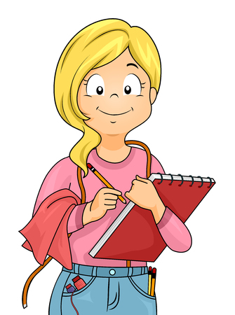 schooler: Illustration of a Little Girl Dressed as a Tailor Carrying a Sketchpad