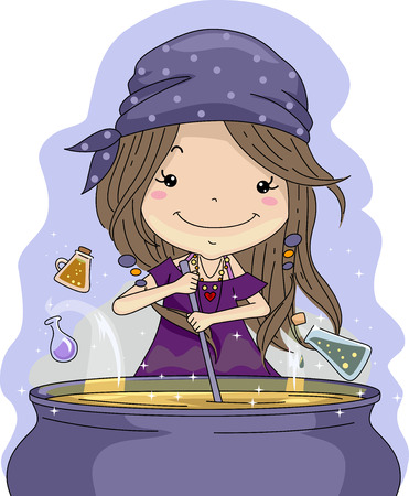 mixing: Illustration of a Little Girl Mixing Potions in a Cauldron Stock Photo