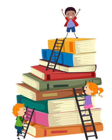 Stickman Illustratie van kinderen beklimmen van een grote stapel boeken