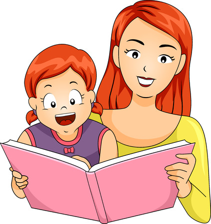 storybook: Illustration of a Mother Reading a Storybook to Her Daughter