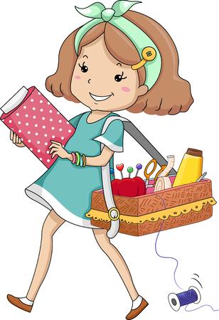 kit de costura: Ilustración de una niña que lleva un kit de costura