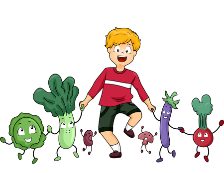 cabbage: Illustration of a Little Boy Walking Together with Vegetable Mascots Stock Photo