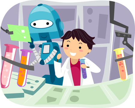 grade schooler: Illustration of a Robot Helping a Little Scientist with Experiments