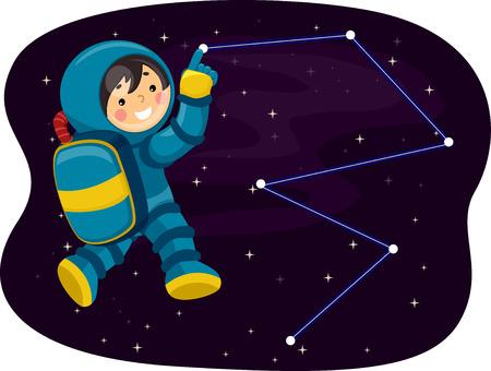 별자리를 가리키는 작은 우주 비행사의 그림 스톡 콘텐츠