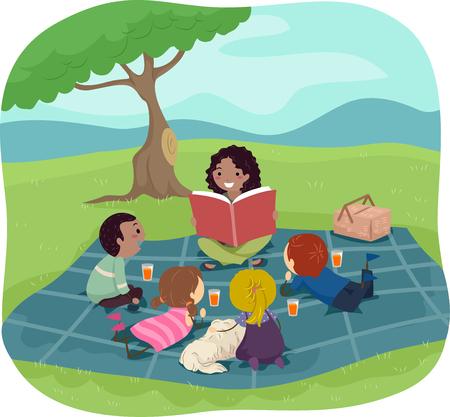 escuela caricatura: Ilustración stickman de niños escucha a un adulto que lee un libro de cuentos Foto de archivo