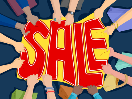 pulling: Illustration of People Pulling on a Banner with the Word Sale Written on It