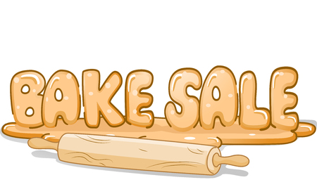 bake sale: Illustration of a Rolling Pin Sitting Beside a Stick of Bread