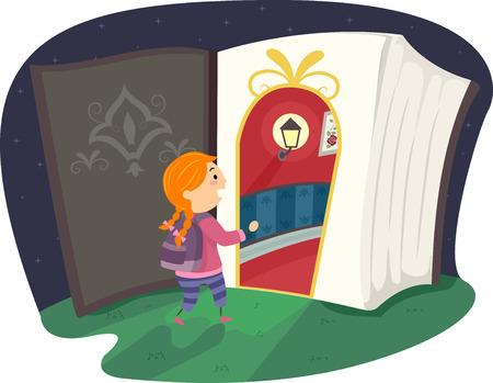 libro caricatura: Ilustración stickman de una niña a entrar en un portal mágico Foto de archivo