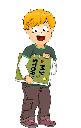 children's story: Illustration of a Little Boy Carrying a Homemade Book