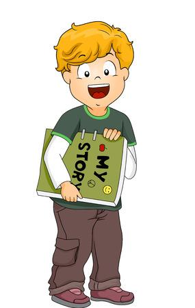 cartoon child: Illustration of a Little Boy Carrying a Homemade Book