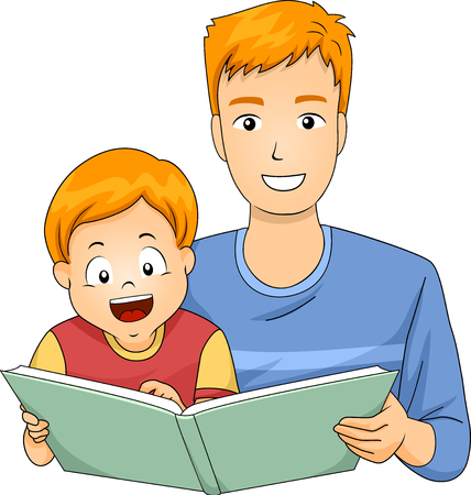 storybook: Illustration of a Father Reading a Storybook to His Son