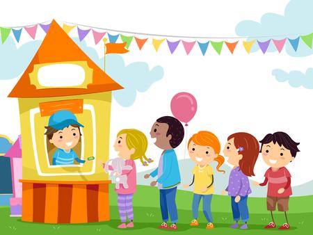 fila de personas: Stickman Ilustración de niños haciendo cola en la taquilla