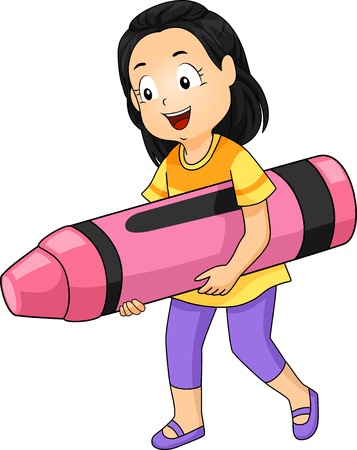 grade schooler: Illustration of a Little Girl Carrying a Giant Pink Crayon