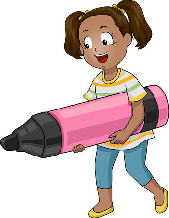 giant: Illustration of a Little Girl Carrying a Giant Marker