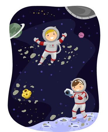 bonhomme allumette: Illustration Stickman des enfants Habillé comme astronautes de prendre une photo dans l'espace