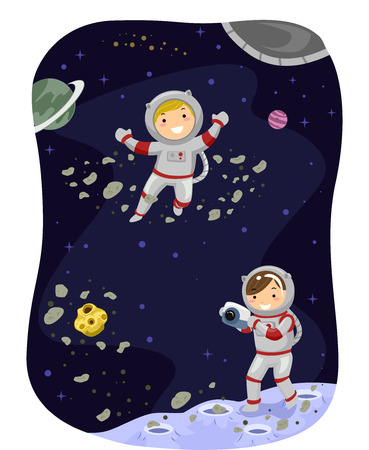 dressed: Stickman Illustration of Kids Dressed as Astronauts Taking a Photo in Space