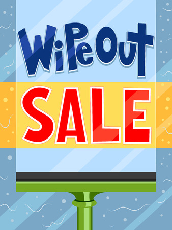 wipe: Illustration Featuring a Paintbrush Painting the Words Wipe Out Sale Stock Photo