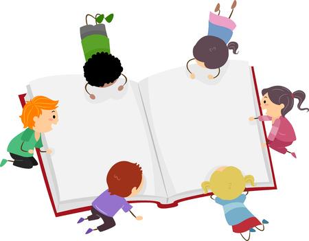 Ilustración stickman de Little Kids lee un libro grande Foto de archivo - 49920318