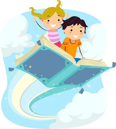 Ilustración stickman de Niños montar un libro mágico que vuela Foto de archivo - 49920799