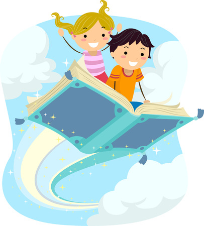 libro: Ilustración stickman de Niños montar un libro mágico que vuela