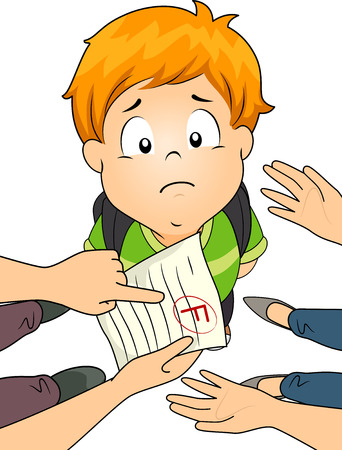 failing: Illustration of a Little Boy Being Scolded by His Parents Over His Failing Grade Stock Photo