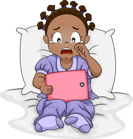 what: Illustration of a Sad African Girl Crying Over What She is Watching on Her Tablet Stock Photo