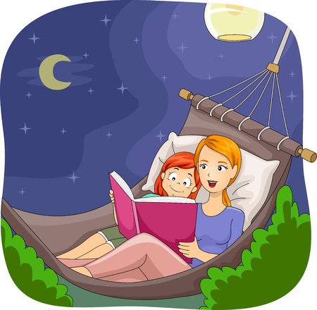 childrens book: Illustration of a Mother Reading a Bedtime Story to Her Daughter Stock Photo
