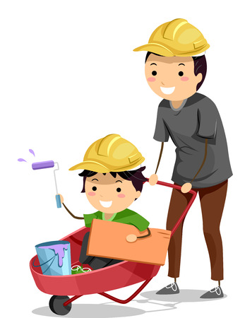 family illustration: Stickman Illustration of a Father Pushing Around His Son Riding on a Wheelbarrow
