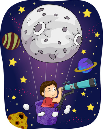 children art: Illustration of a Little Boy in an Air Balloon Peering Through a Telescope Stock Photo