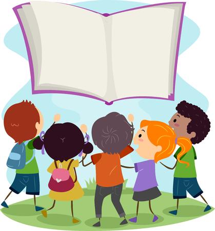 bonhomme allumette: Illustration Stickman des enfants Reaching Out à un livre Floating