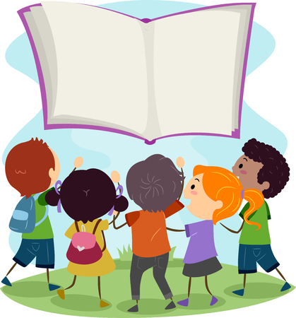 children book: Stickman Illustration of Kids Reaching Out to a Floating Book Stock Photo