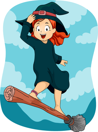 broomstick: Illustration of a Little Girl Dressed as a Wizard Standing on a Flying Broomstick Stock Photo
