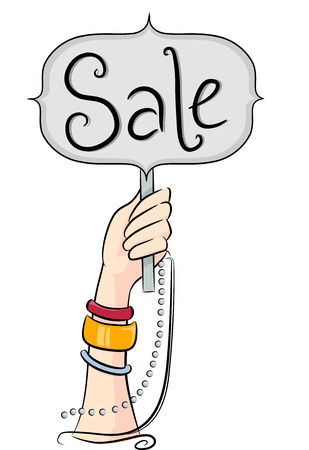 markdown: Illustration of a Hand Holding a Board That Says Sale