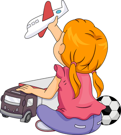 children art: Illustration of a Little Girl Playing with Toys Associated with Boys