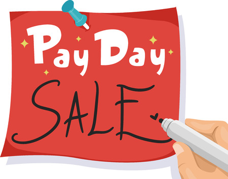payday: Illustration of a Man Writing Pay Day Sale on a Piece of Red Paper Stock Photo