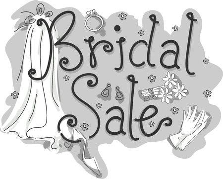 beside: Black and White Illustration of a Wedding Gown with the Words Bridal Sale Written Beside It