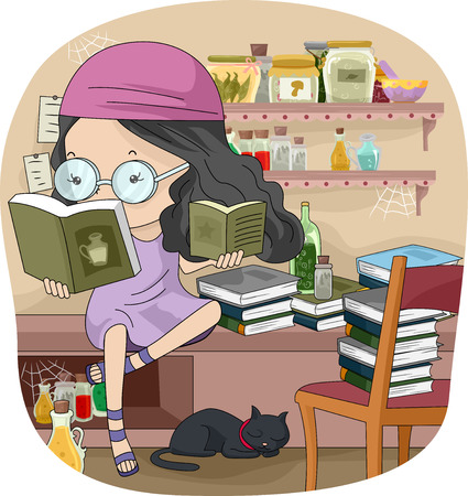 educational: Illustration of a Little Girl Reading Witchcraft Books