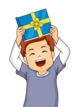 thrilled: Illustration of a Little Boy Showing His Gift Happily