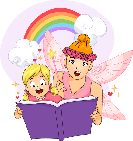 children's story: Colorful Illustration of a Woman Dressed as a Fairy Reading a Fantasy Book to a Little Girl